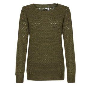 Ichi   fir green knit textured pullover